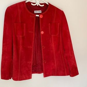 Red Suede Leather Jacket, Gerry Weber, Large